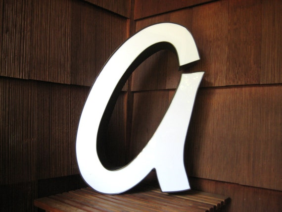 Large Industrial Alphabet Letter A, Building Salvage, Modern Home Decor, White Plastic with Black Trim, Rochester NY
