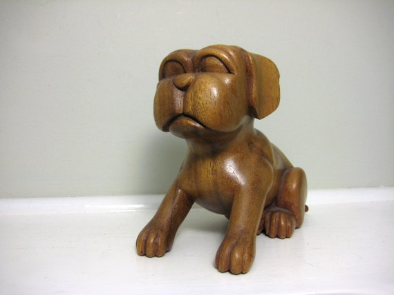 Vintage Pug Figurine Statue, Wooden Dog Sculpture, Carved Puppy, Honey Brown Wood, Nature Animal Carving, Cartoon Style