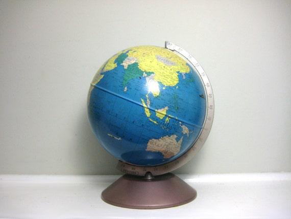 Small Vintage Globe - Rand McNally World Master Globe, 1960s Earth Model Home Decor, Vacation Travel, Office, Library Decor