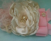Alice in Wonderland Ivory and Pink Headband