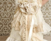Ivory lace vintage shabby chic sash with ruffles