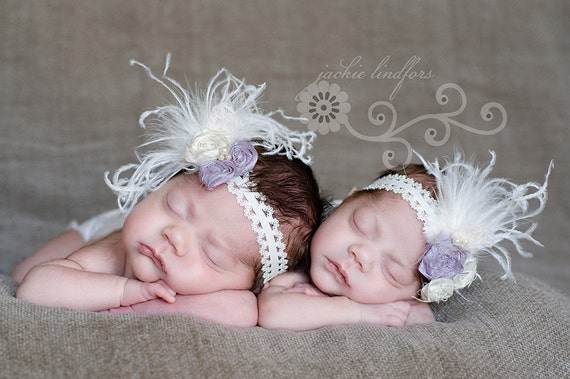 Lavender and ivory lace headband with rosettes and feathers vintage inspired