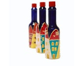 Hand Painted Glass Bottles Hand painted Tabasco bottle Hand painted bottle Home decor  Decorative Glass Art
