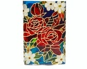 Hand Painted Glass Vase candle holder stained glass floral design botanical  red rose white cobalt blue  green spring  Decorative Art