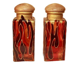 Hand Painted Glass Spice Bottle Hand Painted Bottle  Orange Burgundy Flames Home decor- Decorative Glass Art