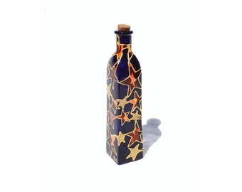 Hand Painted glass  Bottle Hand Painted bottle navy blue yellow stars constellations gold stars home decor - Decorative Glass Art