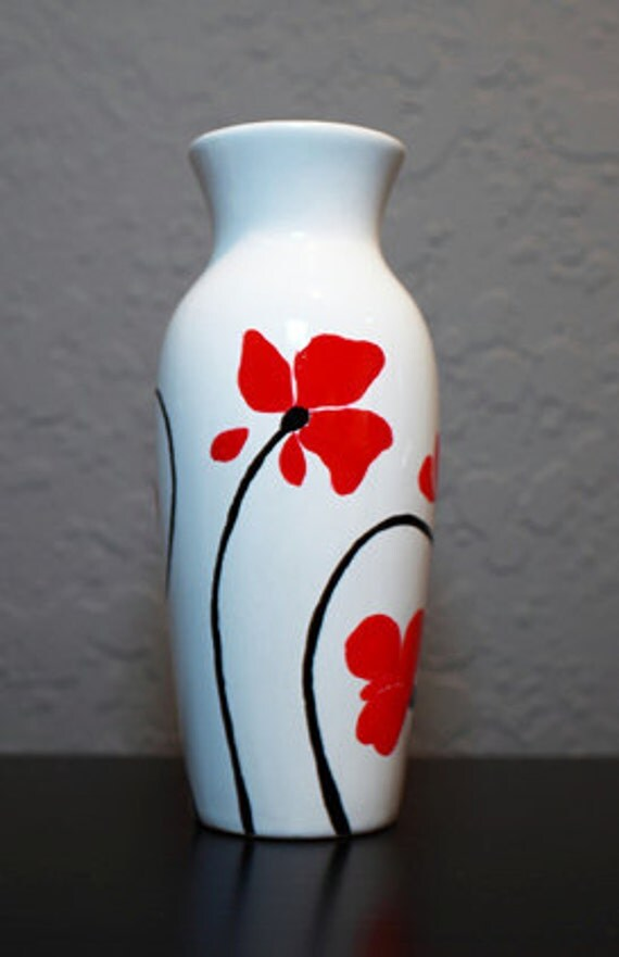 poppies hand painted ceramic vase