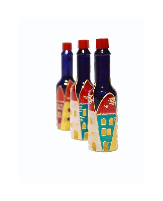 Hand painted glass bottles hand painted tabasco bottle hand for Hand painted glass bottles