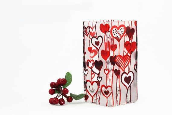 Hand Painted Glass Vase Glass Candle Holder  Hearts Red and White home decor  - Decorative Glass Art