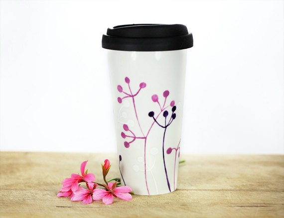 Eco friendly Hand Painted Ceramic Travel Mug - Silicone Black Lid Botanical minimalist modern Abstract pink purple white Queen Anne's Lace