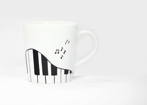 Hand Painted Ceramic Coffee Mug Tea Cup Black and White Piano Pianist Music Notes Modern Minimalist Kitchen Decor Decorative Art