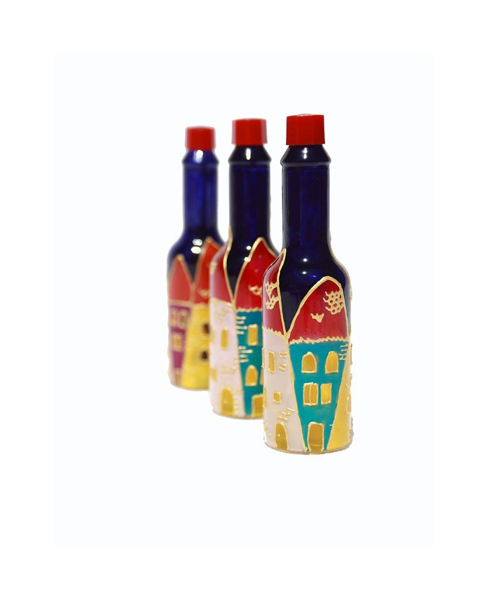 Hand painted glass bottles hand painted tabasco bottle hand for How to paint glass bottles