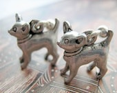 3D Chihuahua dog silver post earrings