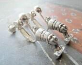 Egyptian queen Nefertiti silver clip on earrings