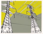 Modern Art - Geometric Print - Power Line Tower