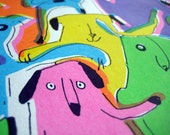 Dog illustration, colourful neon, rainbow screen print of fun, dancing, party dogs titled 'Dog Rave'. Ltd Edition. UK seller