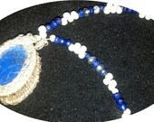 HEATHER AAA Lapis, Viking knit chain wire weave  with faceted Lapis & pearls (Free shipping)