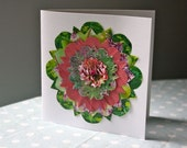 SUMMERHEAD upcycled 3D flower greetings card