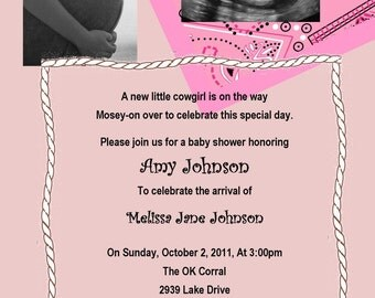 Cowgirl Baby Shower Invitation - You Print