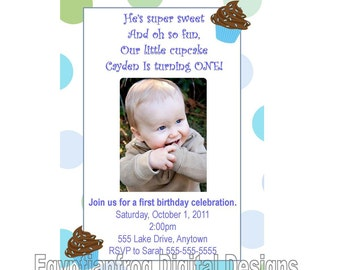 Cupcake First Birthday Blue Birthday Invitation - You Print