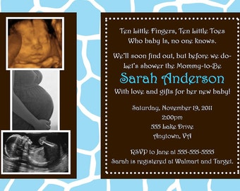 Blue Wild Safari Baby Shower Invitation - You Print