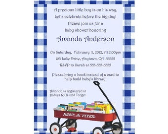 Build a Library Baby Shower Invitation - Red Wagon with Books- You Print