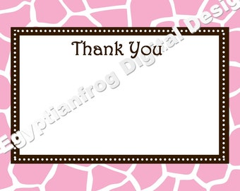 Many Colors Available - Giraffe Wild Safari Baby Shower Thank You Notes - You Print