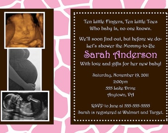 Pink Wild Safari Baby Shower Invitation - You Print