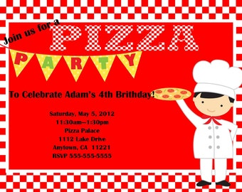 SALE: Pizza Party Birthday Invitation - Boy, Girl, Twins, or Siblings  - You Print