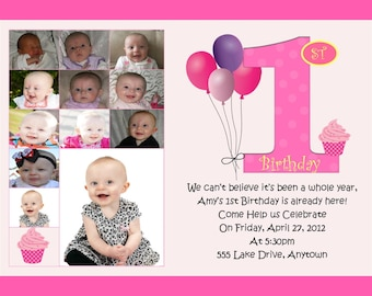 First Birthday Collage Invitation - Balloons and Cupcakes - You Print