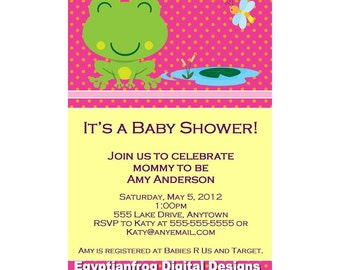 Frog Baby Shower Invitation -  You Print