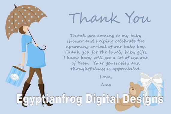 blue baby bump pregnancy baby shower thank you notes you print