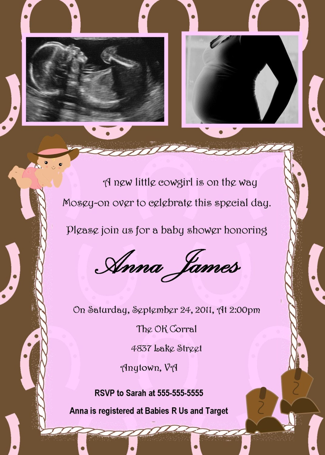 cowgirl baby shower invitation you print