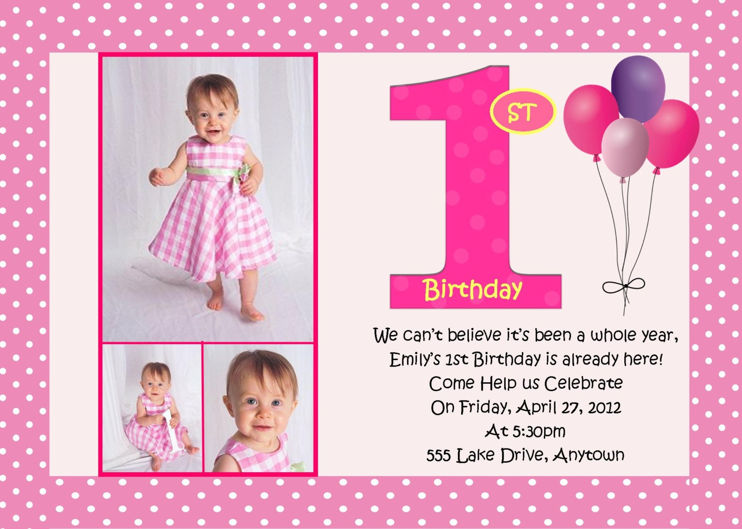 First Birthday Pink Birthday Invitation 3 Designs to Choose