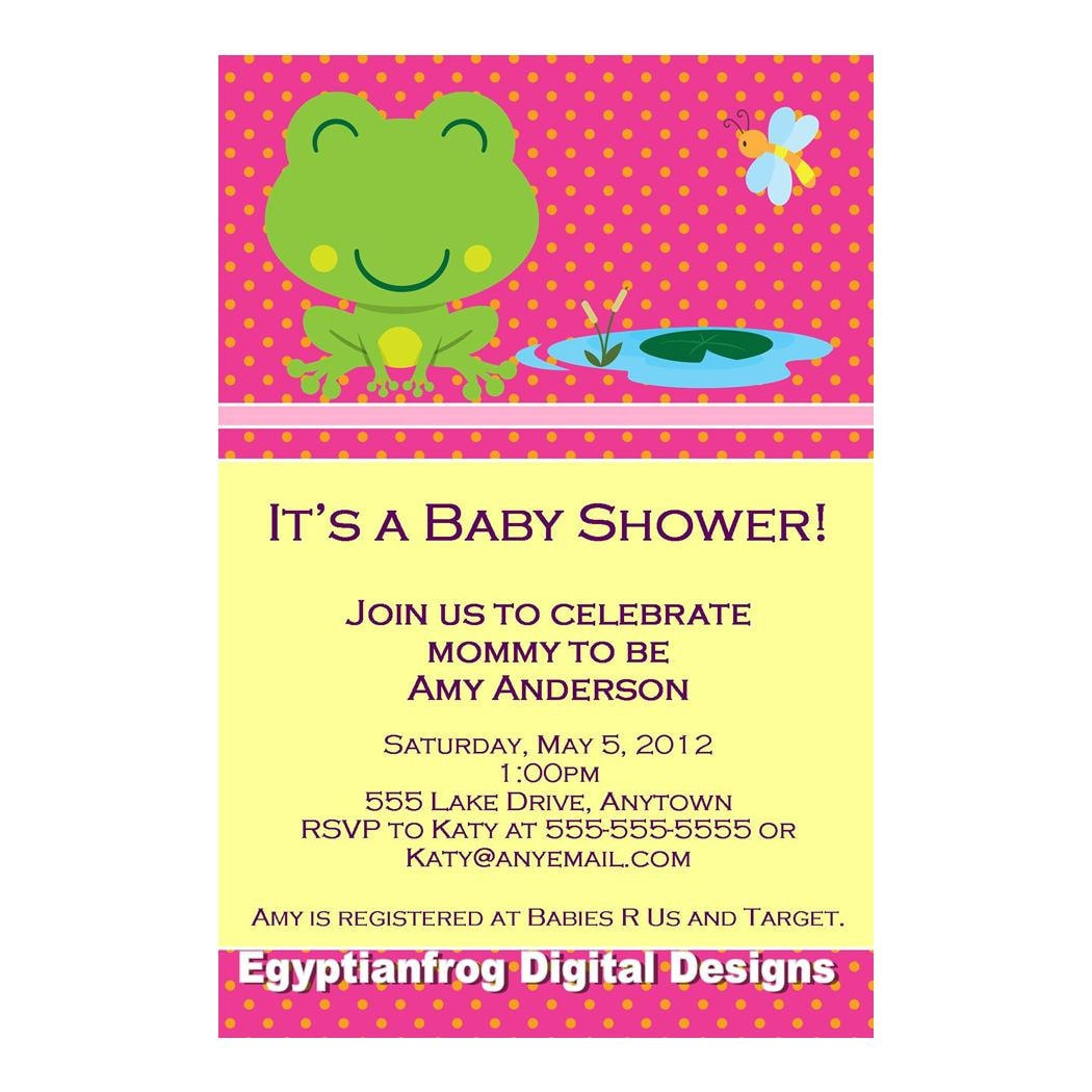 frog baby shower invitation you print by egyptianfrogdesigns, Baby shower