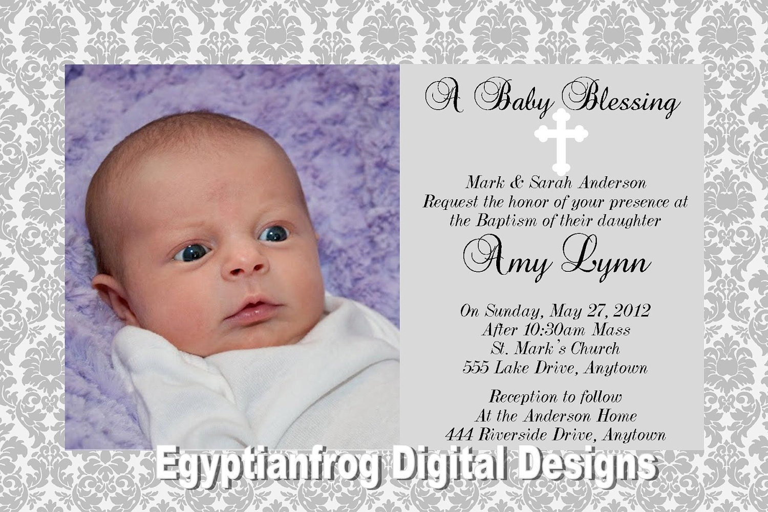 Damask with white cross baptism or christening invitation zoom stopboris Image collections