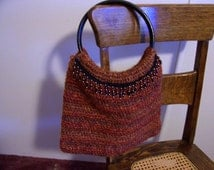 BOGO SALE Hand Crochet Chenille Beaded Purse Crochet by kams-store.com
