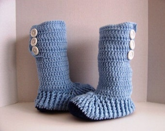 Hand Crochet Hightop Fireside Slipper Boots for Teens and Adults by Kams-store.com