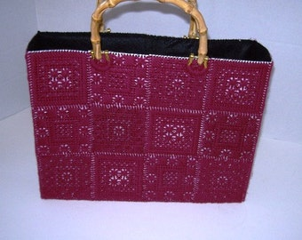 Plastic Canvas Purse with Rattan Handles