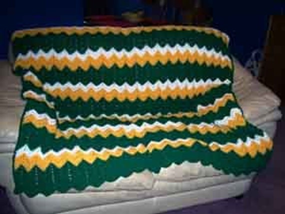 Crochet Pattern Green Bay Packer Afghan : Green Bay Packers colors Afghan by kamsstorecom on Etsy