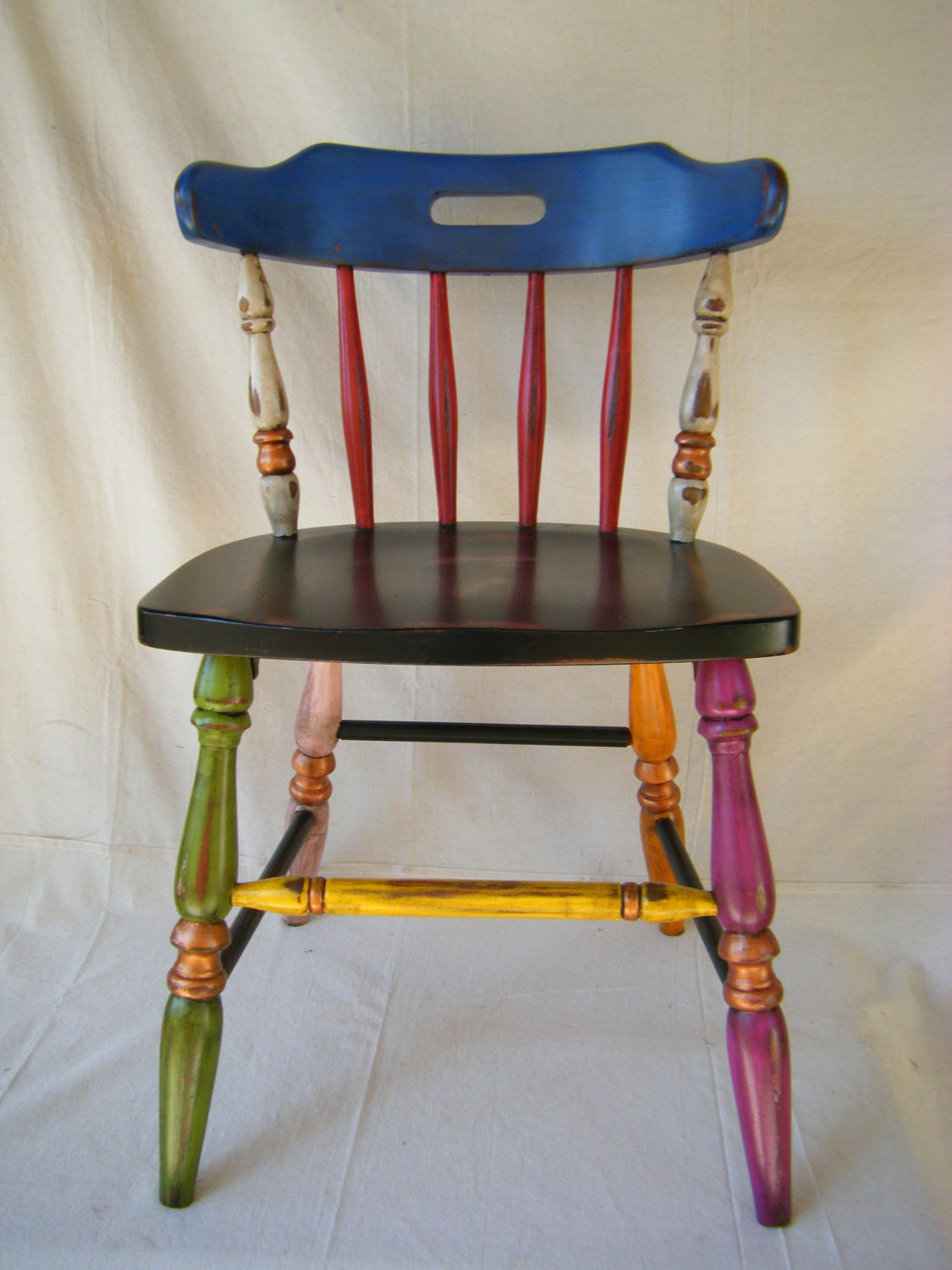 cottage chic hand painted chair by lemonadestore on etsy