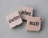 Triathlon Swim Bike Run Set of 3 Tile Magnets