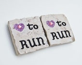 Love to Run Square Tile Magnet
