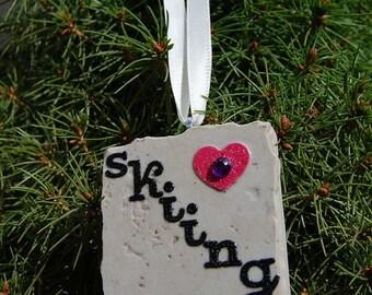 Heart Love Skiing Heart Tile Ornament