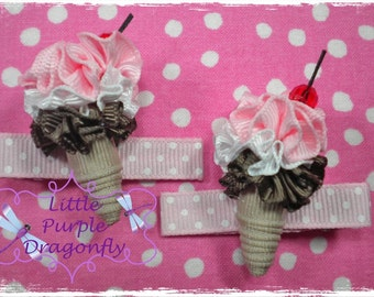 Ice Cream Cone Clippies Set Boutique Hair Bow