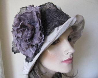 Dusty Grey & Pewter Sculpture Cloche Hat