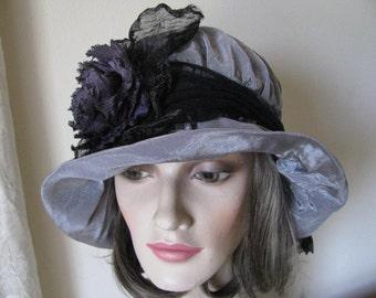 Dove Grey & Charcoal Sculptural Cloche Hat