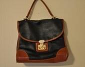 Vintage schoolbag satchel black with tan trim