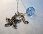 Beach Days necklace seahorse starfish charms blue crystal  silverplated     Item 190
