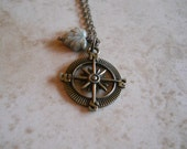 Compass necklace  charm necklace in Antique brass  18 inch chain   Item 226